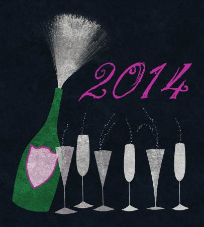 Stylized champagne bottle with six glasses to celebrate New Years Eve