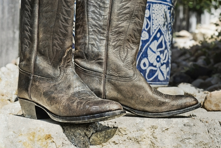 Weathered cowboy boots