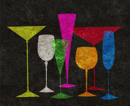 beverage display: Assorted stylized glasses for martini, wine, brandy etc on a black textured background Stock Photo