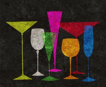 Lunettes stylisées assorties de martini, vin, cognac, etc sur un fond noir texturé Banque d'images - 23868964