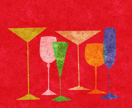 brandy: Assorted stylized glasses for martini, wine, brandy etc on a red textured background