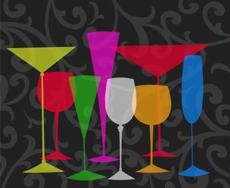 champagne celebration: Assorted stylized glasses for martini, wine, brandy etc on a black swirl background Stock Photo