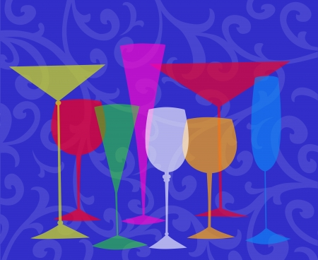 Assorted stylized glasses for martini, wine, brandy etc on a blue swirl background