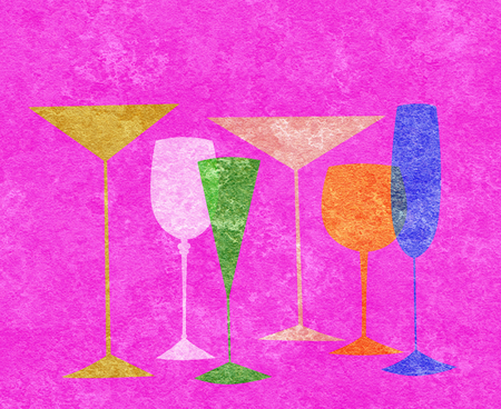 brandy: Assorted stylized glasses for martini, wine, brandy etc on hot pink textured background