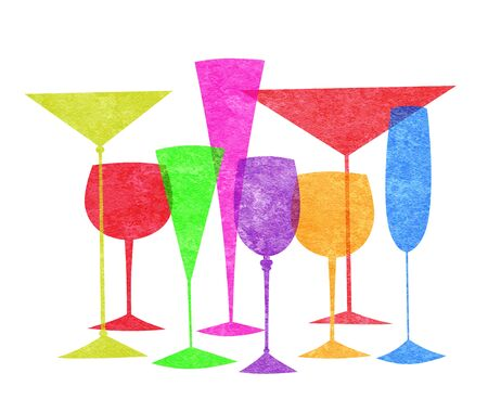 brandy: Assorted stylized glasses for martini, wine, brandy etc on a white background Stock Photo