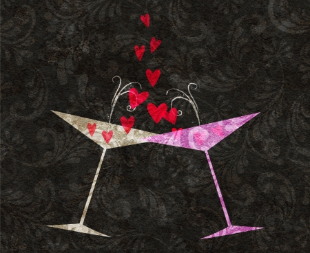 champagne celebration: Two stylized retro martini or champagne glasses tilted toward each other with hearts coming out
