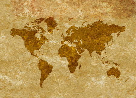Grungy map of the world on stained parchment