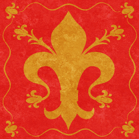 Gold fleur de lys with florets on a textured red  Stock Photo