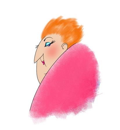赤い髪と彼女の肩越しに見ている中年の女性のユーモラスな漫画