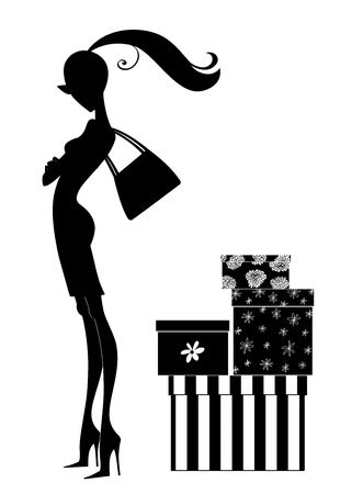 Silhouette of a chic girl with pretty boxes Imagens