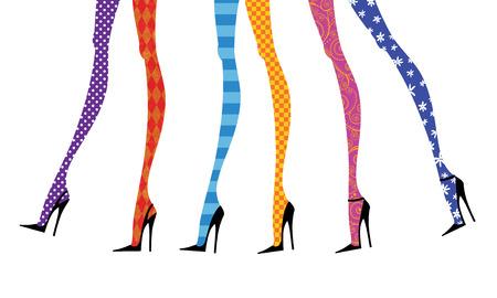 flores fucsia: Piernas de moda en tacones de aguja y medias de colores