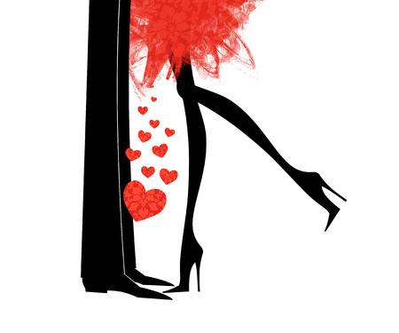 Leuke mode illustratie van een man en vrouw benen tegenover elkaar met hartjes