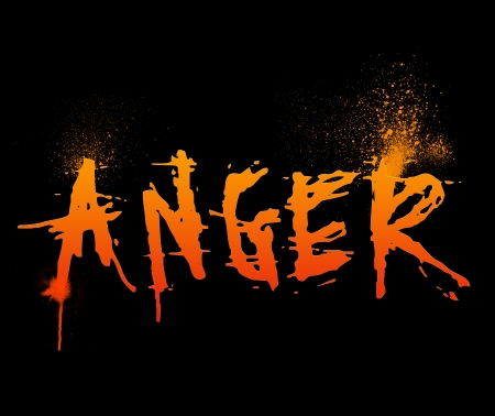 affliction: Typography illustration of the word  Anger  Stock Photo