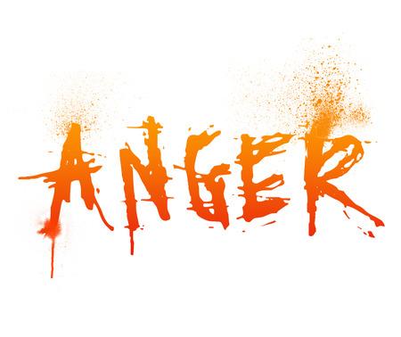 Typografie illustratie van het woord Anger op wit wordt geïsoleerd Stockfoto