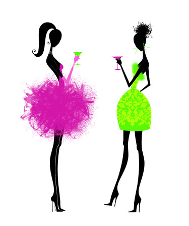 Fashion illustration of chic young women having cocktails isolated on white