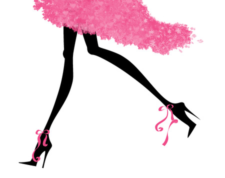 Fashion illustration of long sexy legs in stiletto heels and a party dress