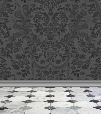 Elegant antraciet damast behang met grijs en wit marmeren vloer Stockfoto