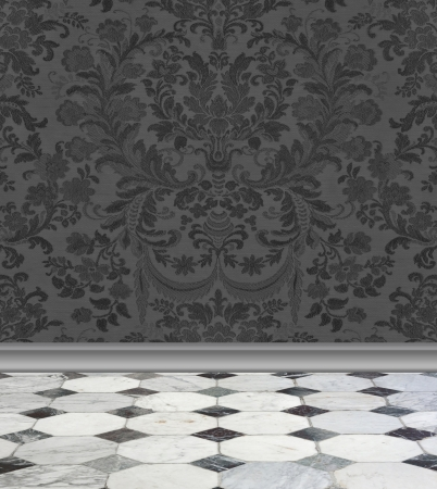 Elegant charcoal gray damask wallpaper with gray and white marble floor