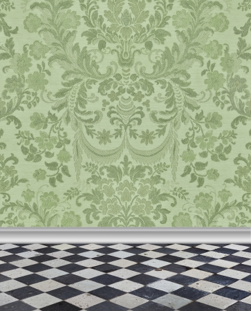 Elegant pale green damask wallpaper with checkerboard marble floor