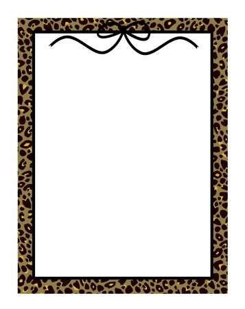chic: Chic frame or border in leopard print with a cute bow