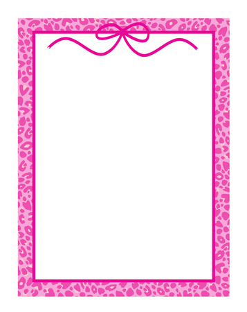 hot frame: Chic frame or border in hot pink leopard with a cute bow