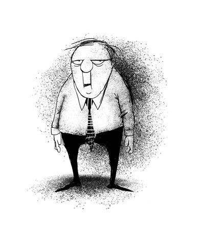 Funny cartoon of a stressed office worker or businessman  Stok Fotoğraf
