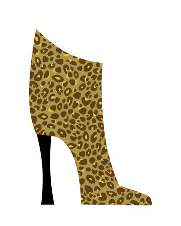 chic: Chic ankle boot in leopard print isolated on white