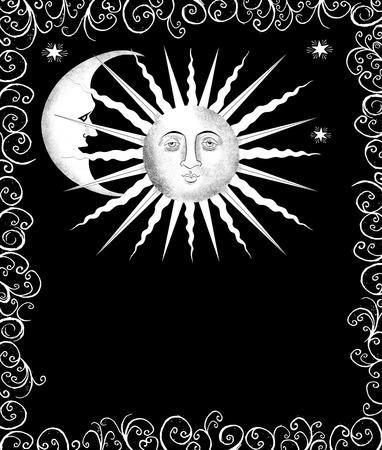 sonne mond und sterne: Dekorative Zeichnung der Sonne und des Mondes in einem Schnörkel Rahmen