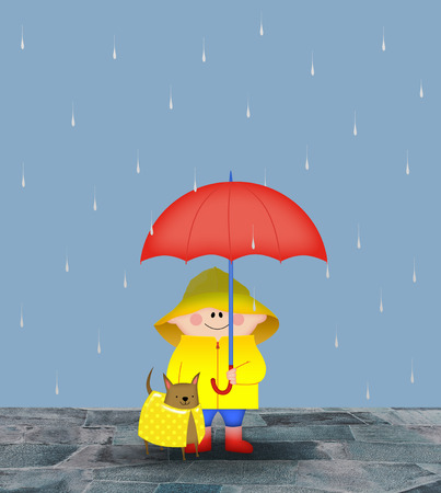 slicker: Small boy with his dog and a red umbrella in the rain