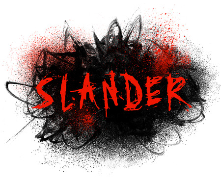 Slander typography illustration with black paint smear and red spatter