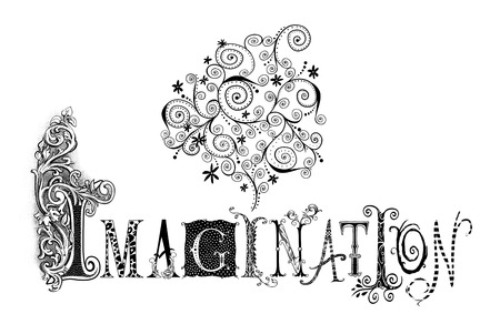 fanciful: Fanciful pen illustration of the word Imagination