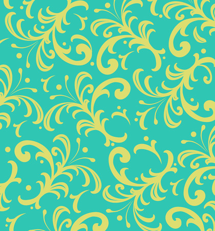 curlicues: Background of yellow floral swirls on aqua blue