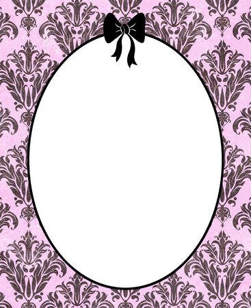 mirror frame: Cute pink frame or mirror with a pink bow on a black striped background