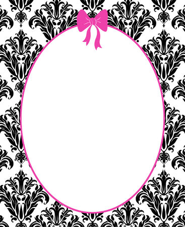 black: Cute pink frame or mirror with a hot pink bow on a black damask background