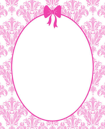 Cute pink frame or mirror with a hot pink bow on a pink damask background