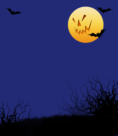 Whimsical Halloween illustration with scary moon face and bats Reklamní fotografie