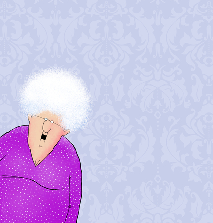 inward: Cartoon of a smiling senior citizen leaning into the frame on a damask background