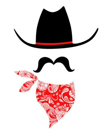 bandana western: Whimsical cowboy illustration Stock Photo
