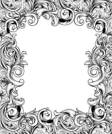 華やかなフレームまたはバロック装飾の境界線の描画ペン 写真素材