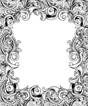 Pen drawing of an ornate frame or border of baroque flourishes