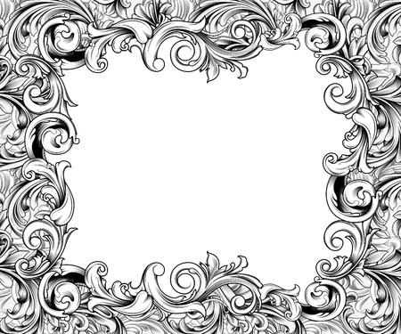baroque border: Ornate baroque or rococo frame of hand drawn engraved flourishes Stock Photo