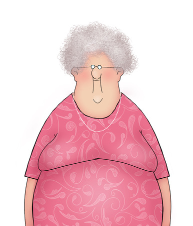 frizzy: Funny Smiling Old Lady in a Pink Dress Stock Photo