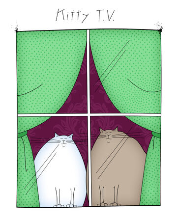 gazing: Funny cartoon of two cats looking out the window, which is TV for kitties