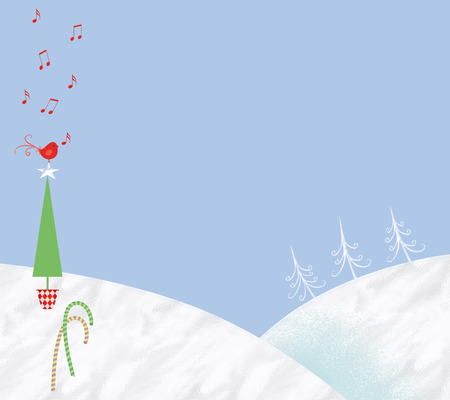 Whimsical Christmas snow scene with a red singing bird and candy canes