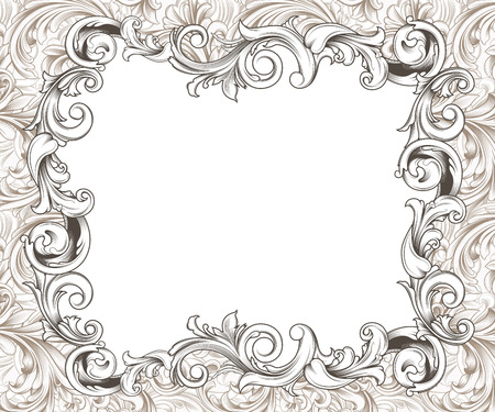 curlicues: Ornate baroque or rococo frame of hand drawn engraved flourishes Stock Photo