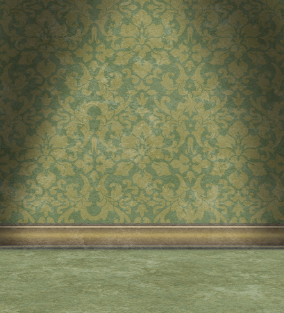 Empty room with damask wallpaper Stock Photo