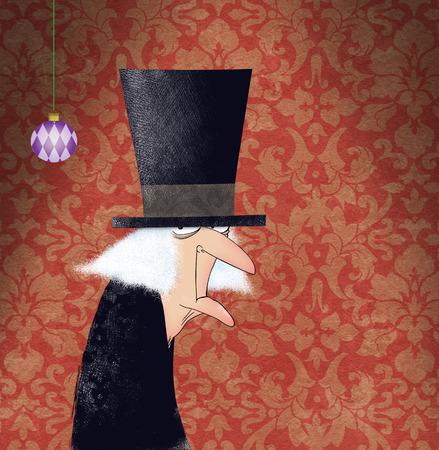 Dessin drôle d'Ebenezer Scrooge avec un ornement de Noël Banque d'images - 34235937