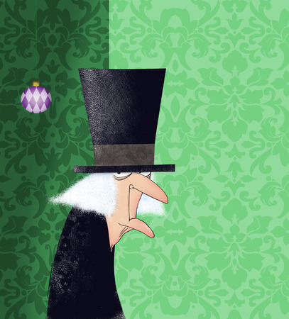 Funny drawing of Ebenezer Scrooge with a Christmas ornament