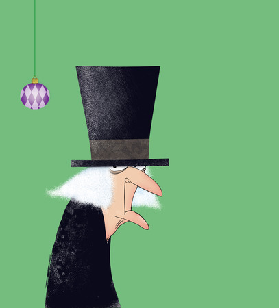 grouchy: Funny drawing of Ebenezer Scrooge with a Christmas ornament