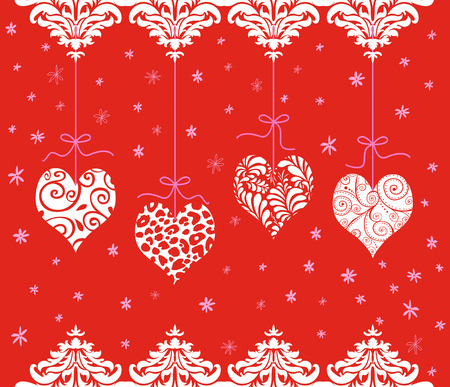 curlicues: Four cute red Valentines hanging from pink ribbons